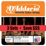 D'Addario Acoustic Guitar Strings Extra Light 3 pack